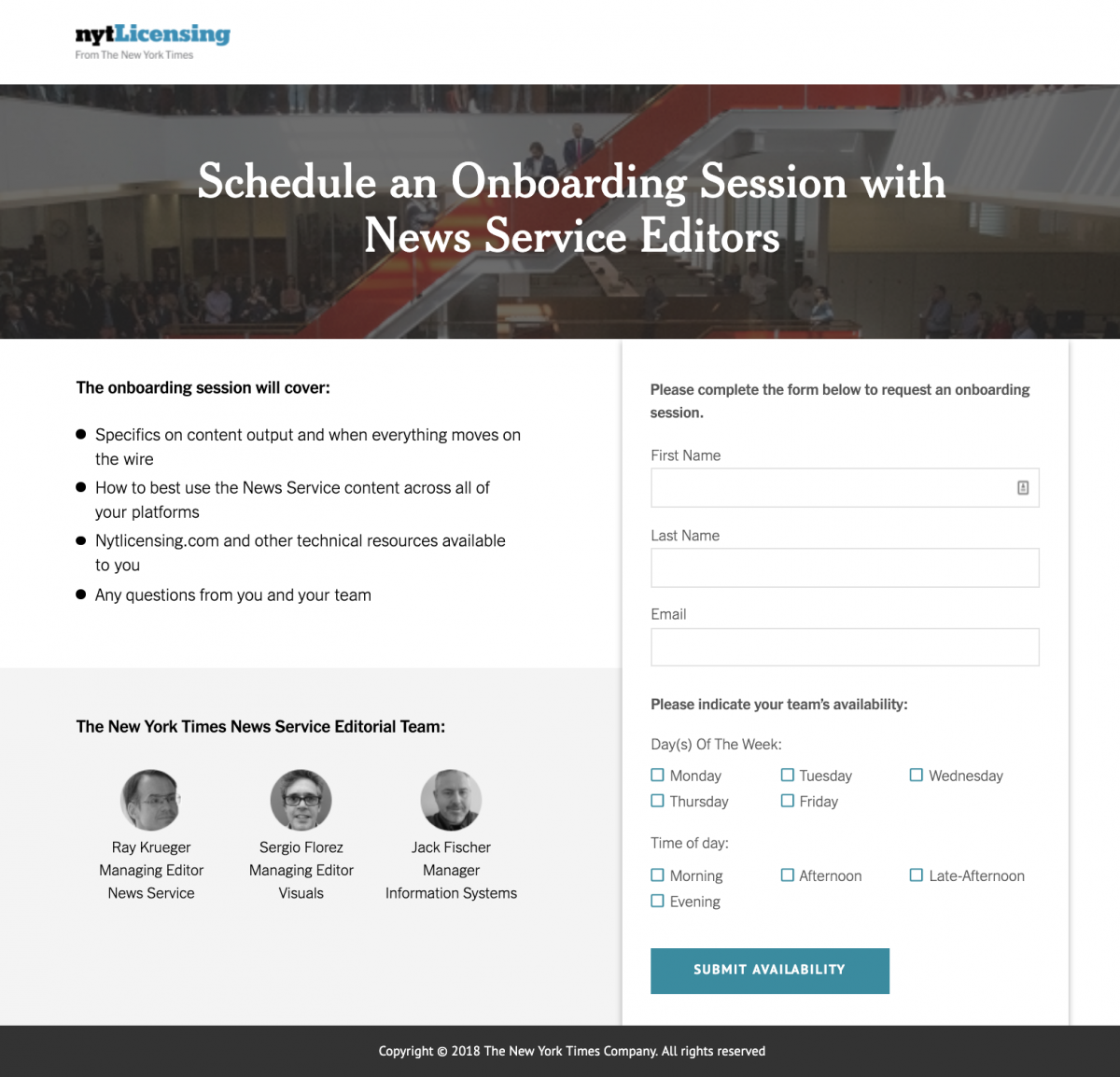 New York Times Landing Page - Scheduling
