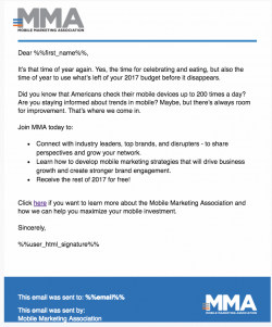 Mobile Marketing Association Email Template